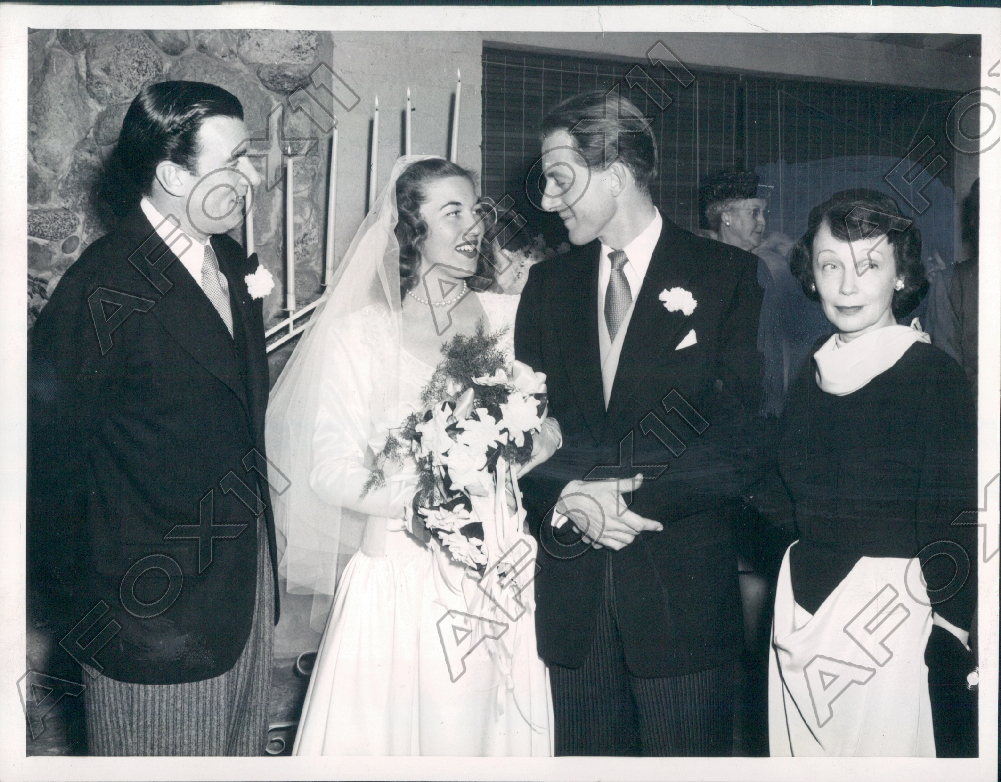 1947 Hollywood CA Actor Walter Pigeon Daughter Edna got Married